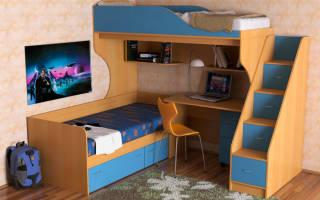 Размеры двухъярусной кровати со встроенным шкафом
