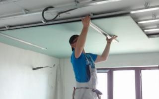 Какой толщины должен быть гипсокартон для потолка