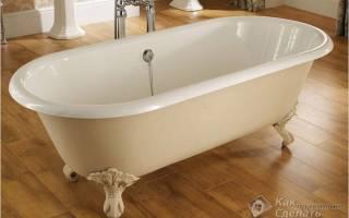 Как закрепить чугунную ванну к полу